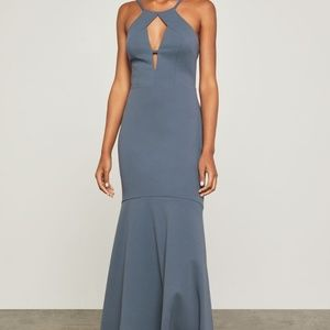BCBGMaxazria Nightshadow Blue Cut Out Halter Dress